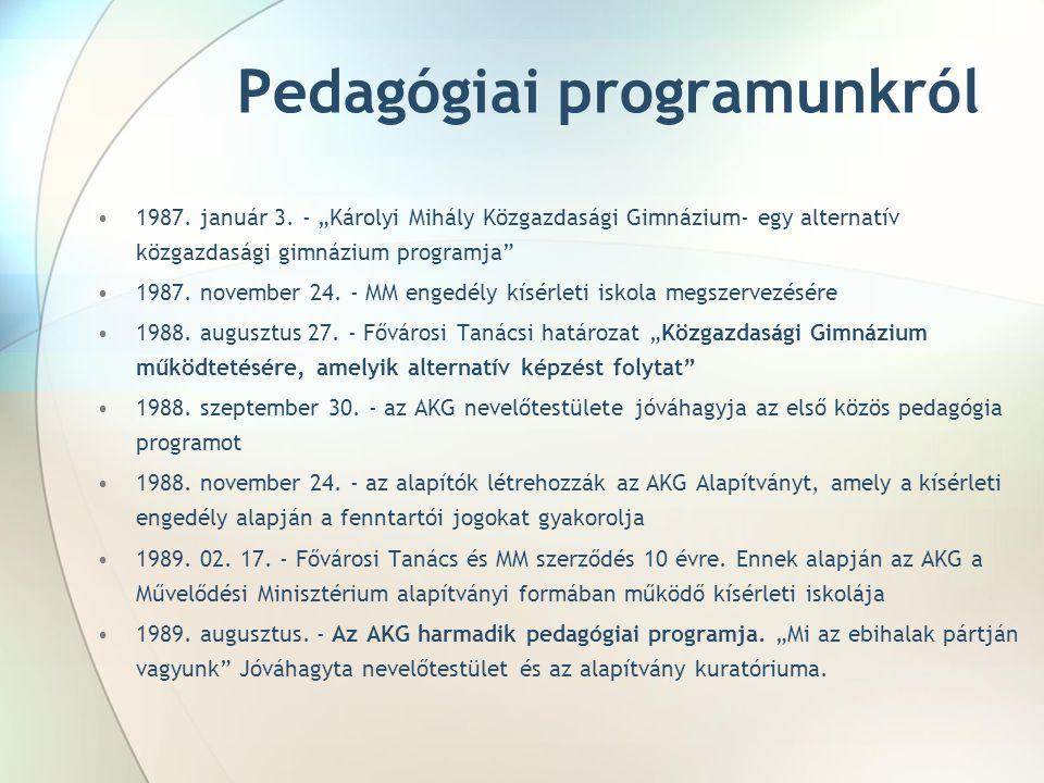 Pedagógiai programunkról