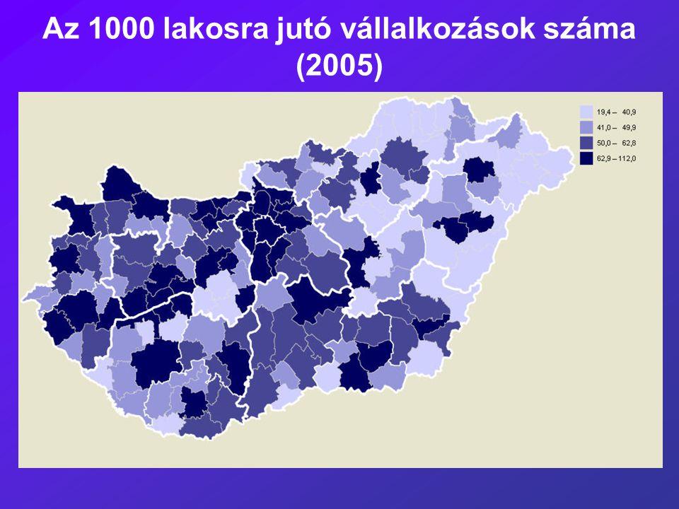 Az 1000 lakosra jutó vállalkozások száma (2005)