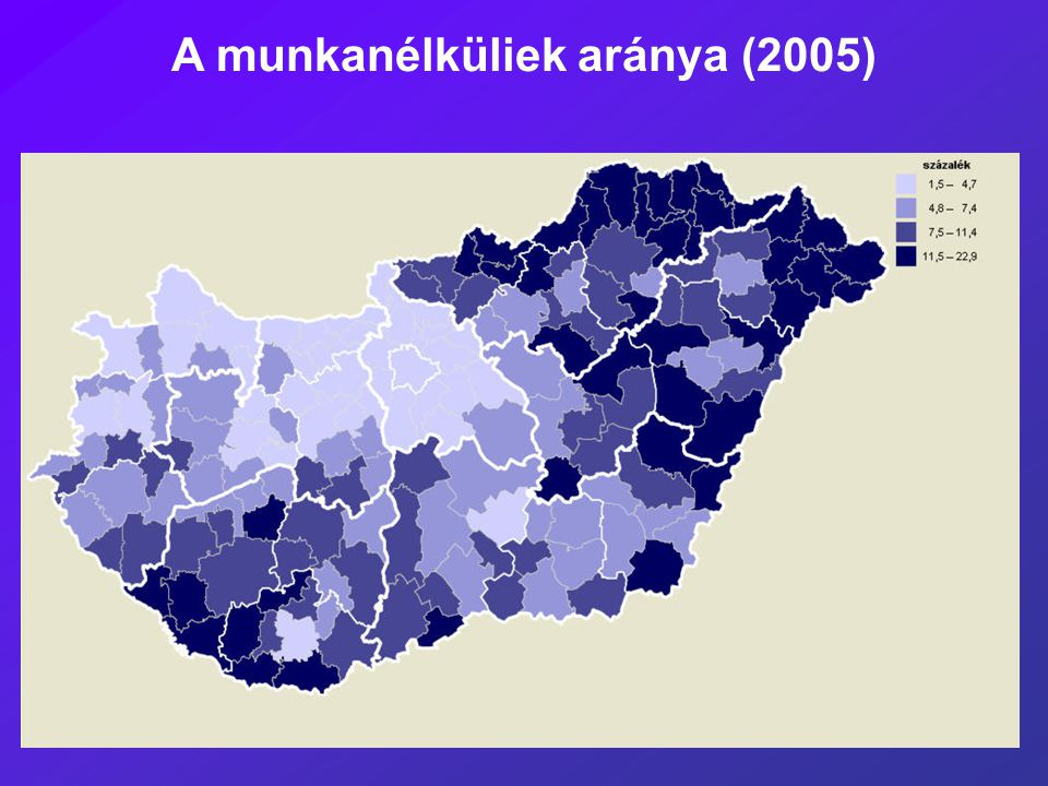 A munkanélküliek aránya (2005)