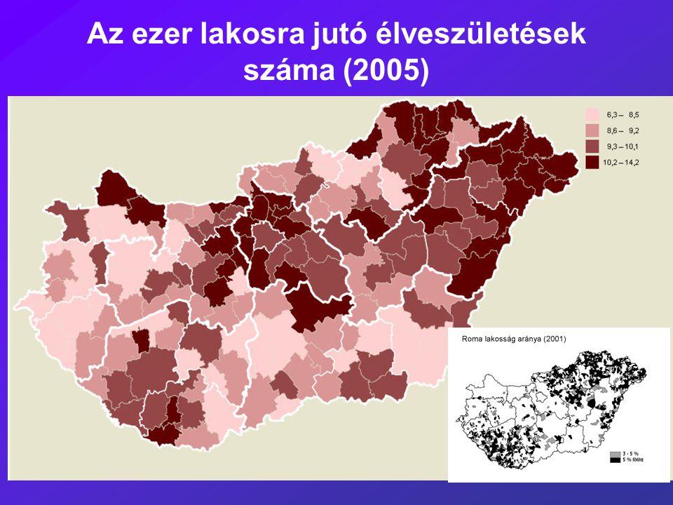 Az ezer lakosra jutó élveszületések száma (2005)