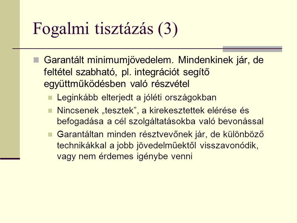 Fogalmi tisztázás (3) Garantált minimumjövedelem. Mindenkinek jár, de feltétel szabható, pl. integrációt segítő együttműködésben való részvétel.