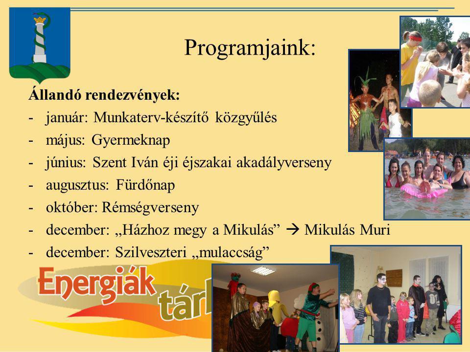Programjaink: Állandó rendezvények: