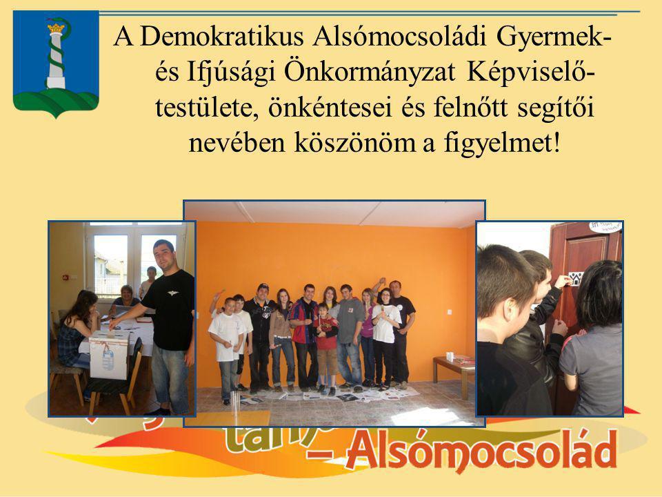 A Demokratikus Alsómocsoládi Gyermek- és Ifjúsági Önkormányzat Képviselő-testülete, önkéntesei és felnőtt segítői nevében köszönöm a figyelmet!