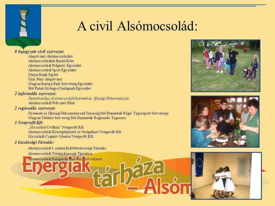 A civil Alsómocsolád: 8 bejegyzett civil szervezet:
