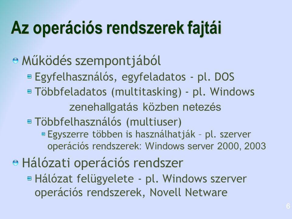 Az operációs rendszerek fajtái