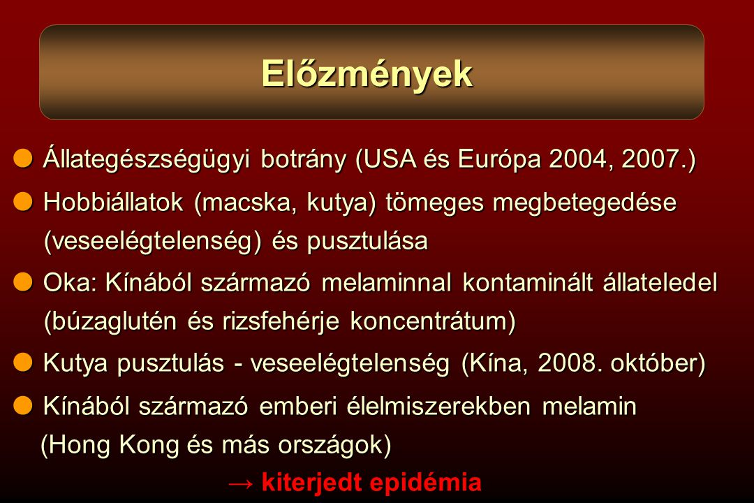 Előzmények  Állategészségügyi botrány (USA és Európa 2004, 2007.)
