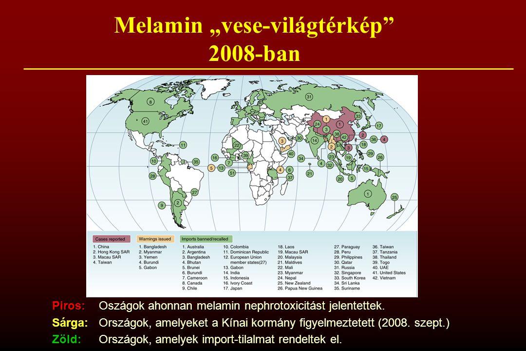 """Melamin """"vese-világtérkép 2008-ban"""