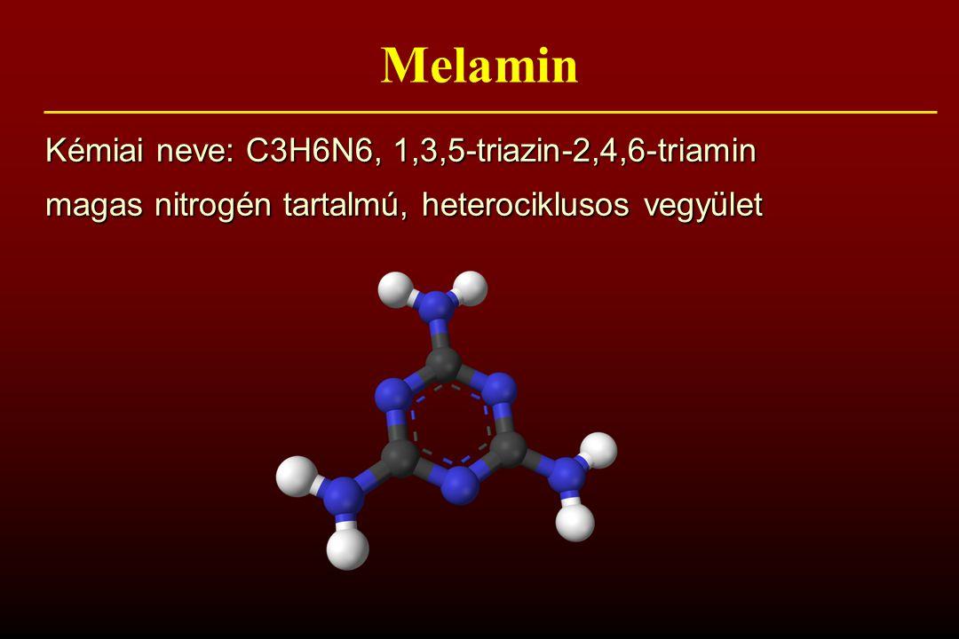 Melamin Kémiai neve: C3H6N6, 1,3,5-triazin-2,4,6-triamin