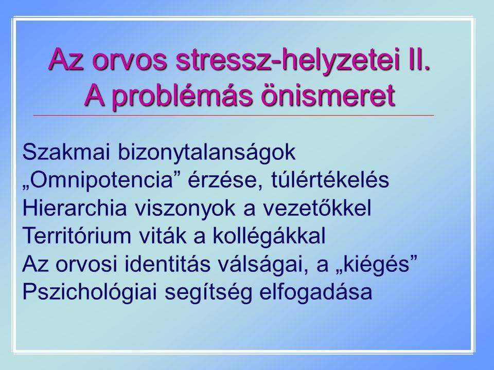 Az orvos stressz-helyzetei II.