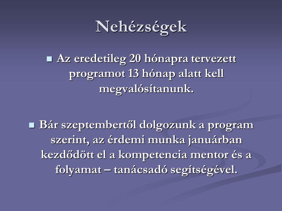 Nehézségek Az eredetileg 20 hónapra tervezett programot 13 hónap alatt kell megvalósítanunk.