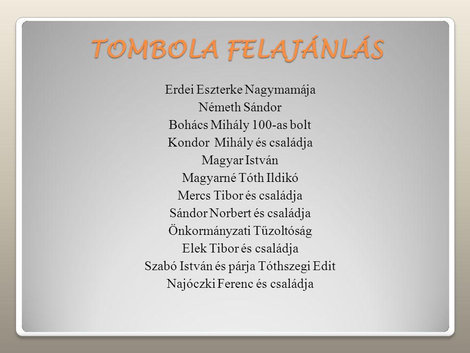 TOMBOLA FELAJÁNLÁS