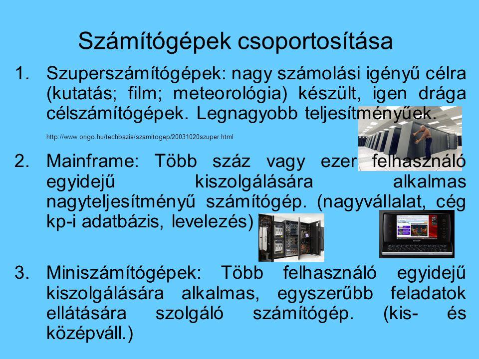 Számítógépek csoportosítása