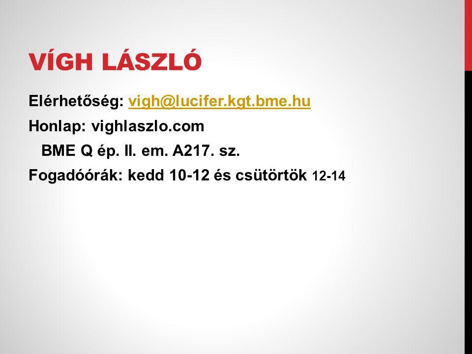 Vígh László Elérhetőség: vigh@lucifer.kgt.bme.hu Honlap: vighlaszlo.com BME Q ép.