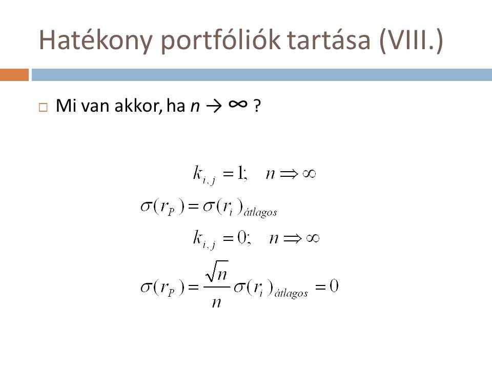 Hatékony portfóliók tartása (VIII.)