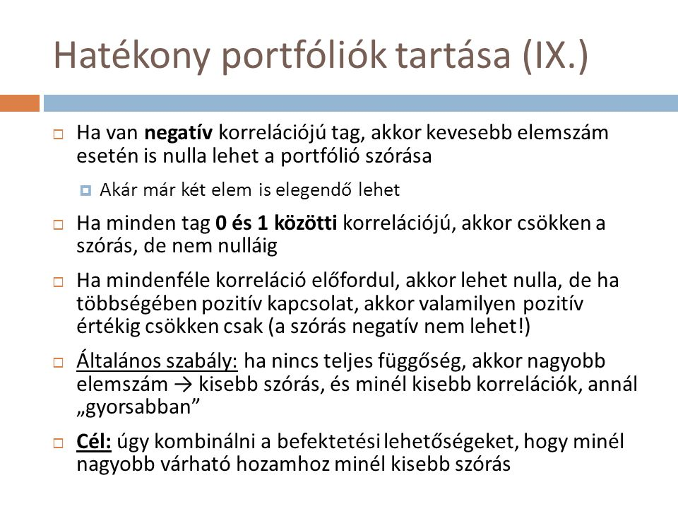 Hatékony portfóliók tartása (IX.)