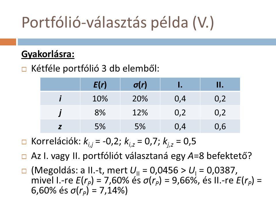 Portfólió-választás példa (V.)