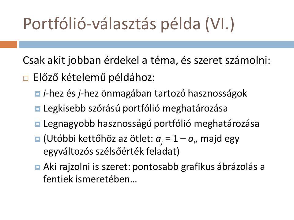 Portfólió-választás példa (VI.)