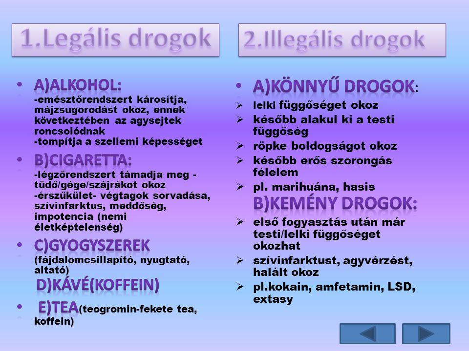 1.Legális drogok 2.Illegális drogok a)könnyű drogok: