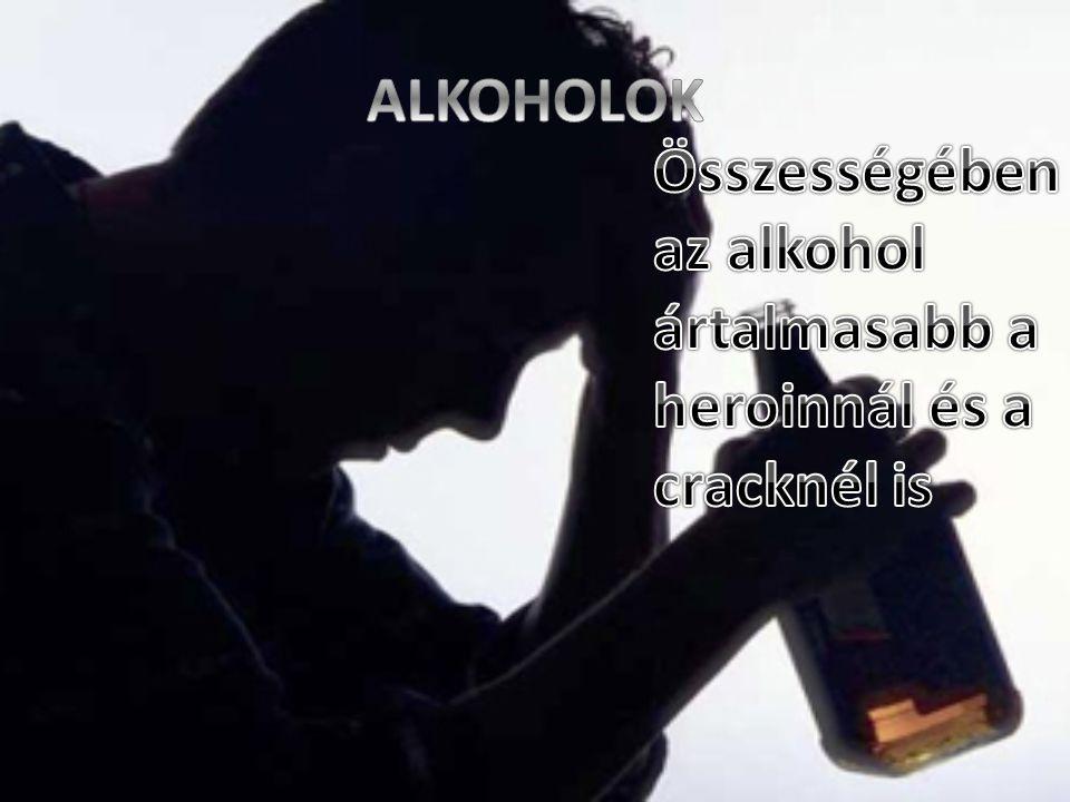 ALKOHOLOK Összességében az alkohol ártalmasabb a heroinnál és a cracknél is