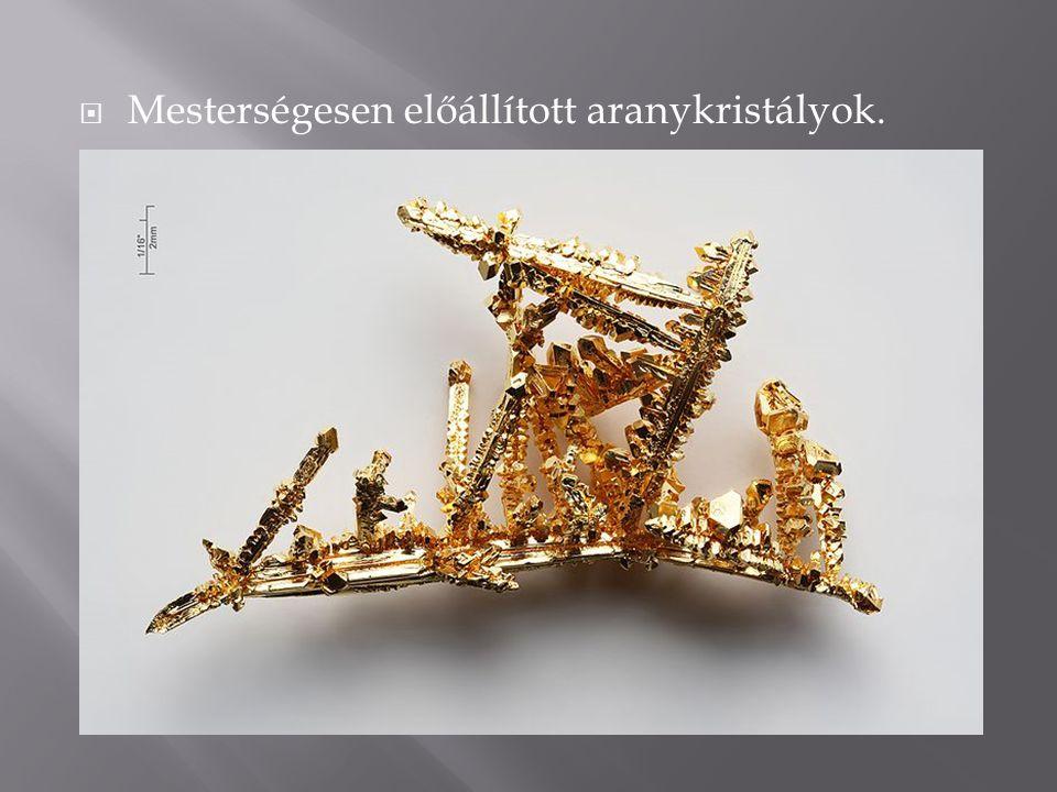 Mesterségesen előállított aranykristályok.