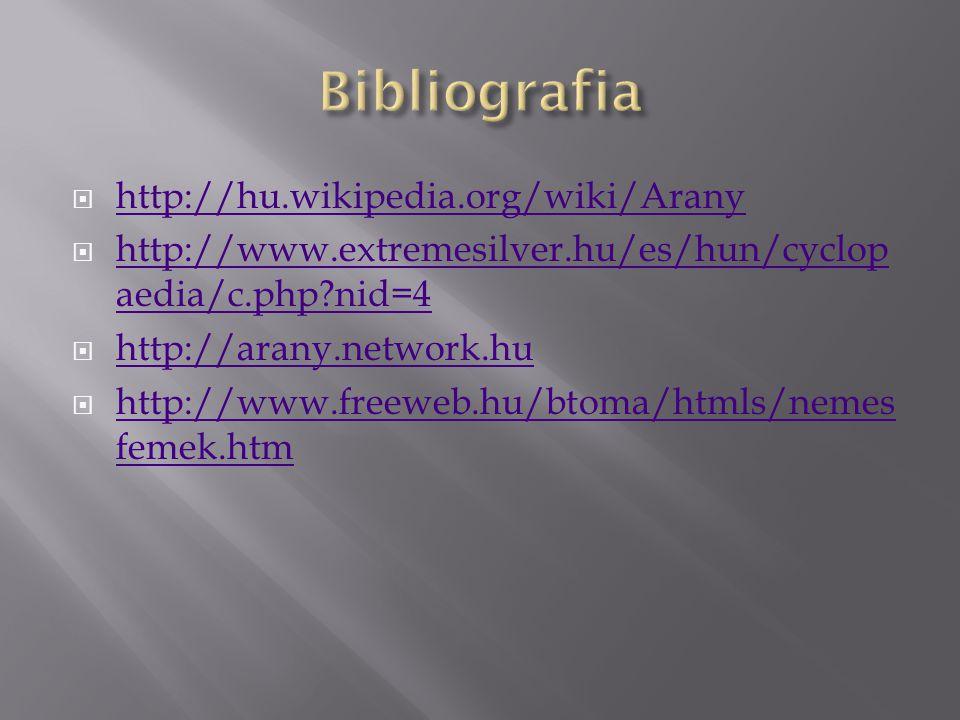 Bibliografia http://hu.wikipedia.org/wiki/Arany