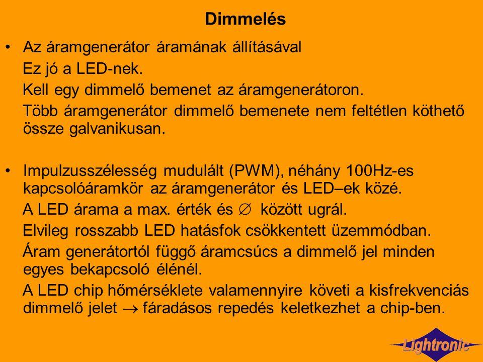 Dimmelés Az áramgenerátor áramának állításával Ez jó a LED-nek.