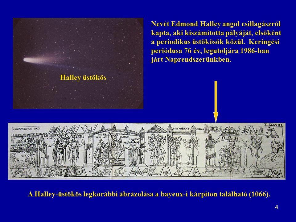 Nevét Edmond Halley angol csillagászról kapta, aki kiszámította pályáját, elsőként a periodikus üstökösök közül. Keringési periódusa 76 év, legutoljára 1986-ban járt Naprendszerünkben.