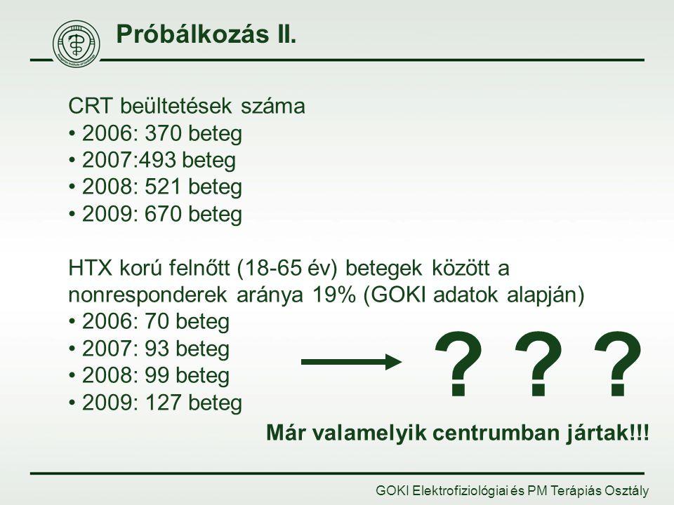 Próbálkozás II. CRT beültetések száma 2006: 370 beteg