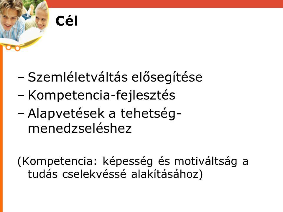 Cél Szemléletváltás elősegítése Kompetencia-fejlesztés