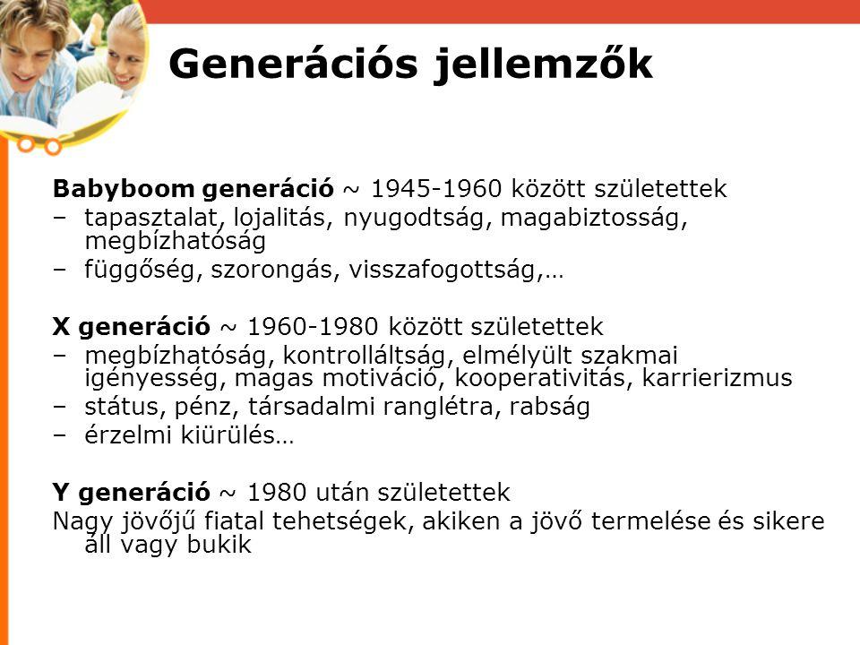 Generációs jellemzők Babyboom generáció ~ 1945-1960 között születettek