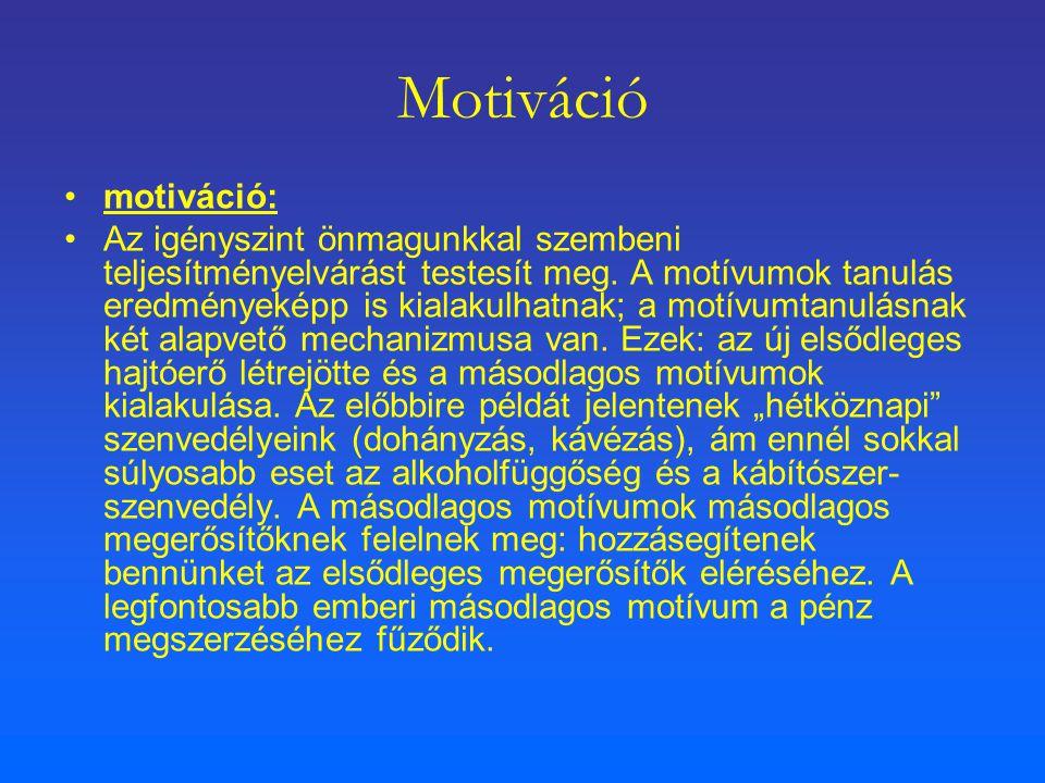 Motiváció motiváció: