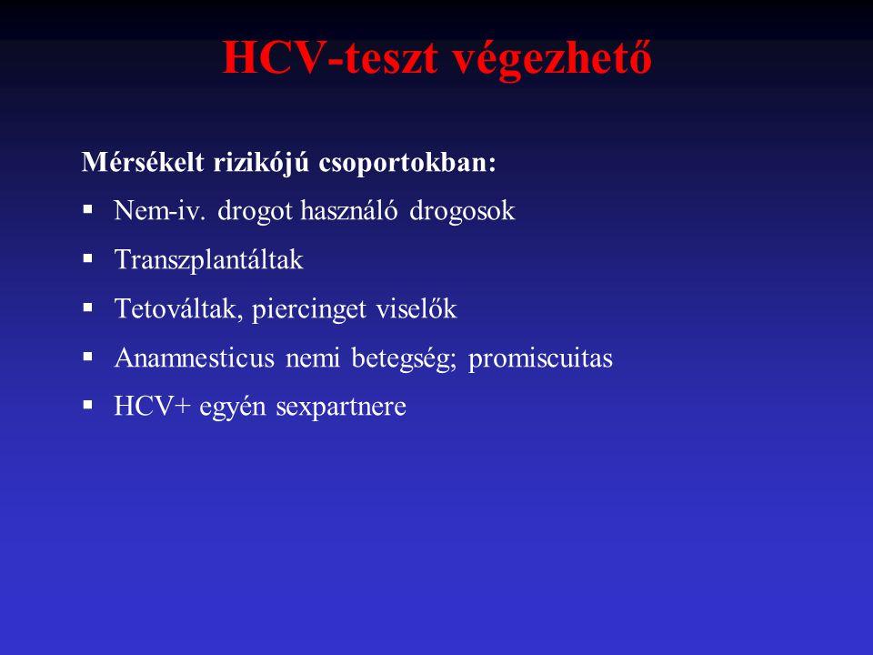 HCV-teszt végezhető Mérsékelt rizikójú csoportokban: