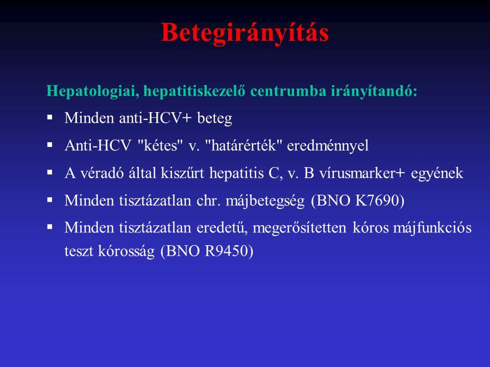 Betegirányítás Hepatologiai, hepatitiskezelő centrumba irányítandó: