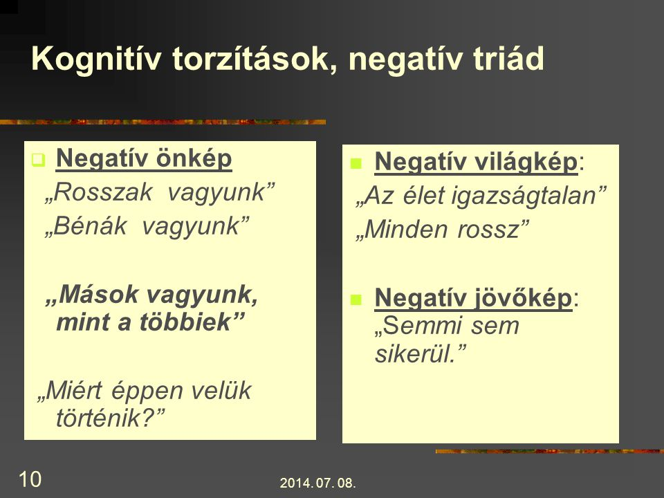 Kognitív torzítások, negatív triád