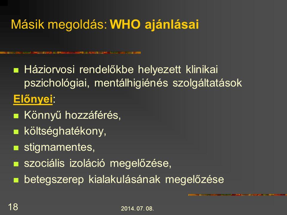 Másik megoldás: WHO ajánlásai