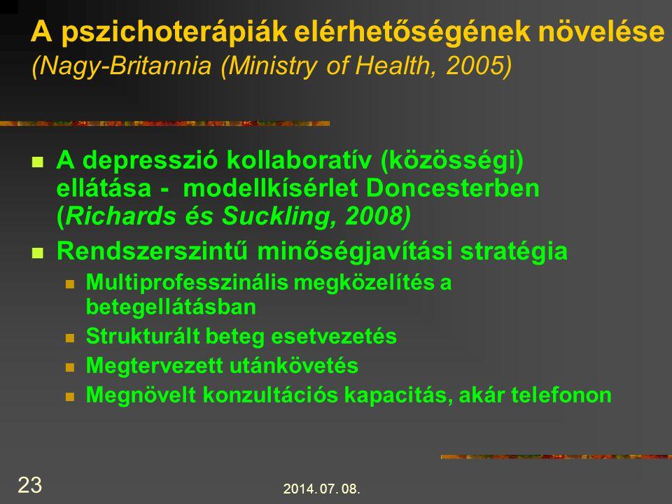 A pszichoterápiák elérhetőségének növelése (Nagy-Britannia (Ministry of Health, 2005)