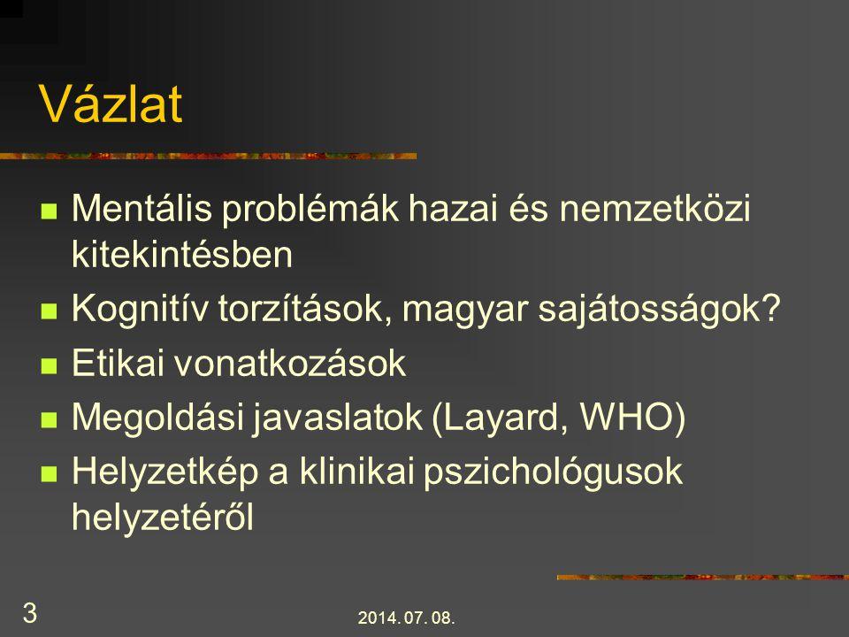 Vázlat Mentális problémák hazai és nemzetközi kitekintésben