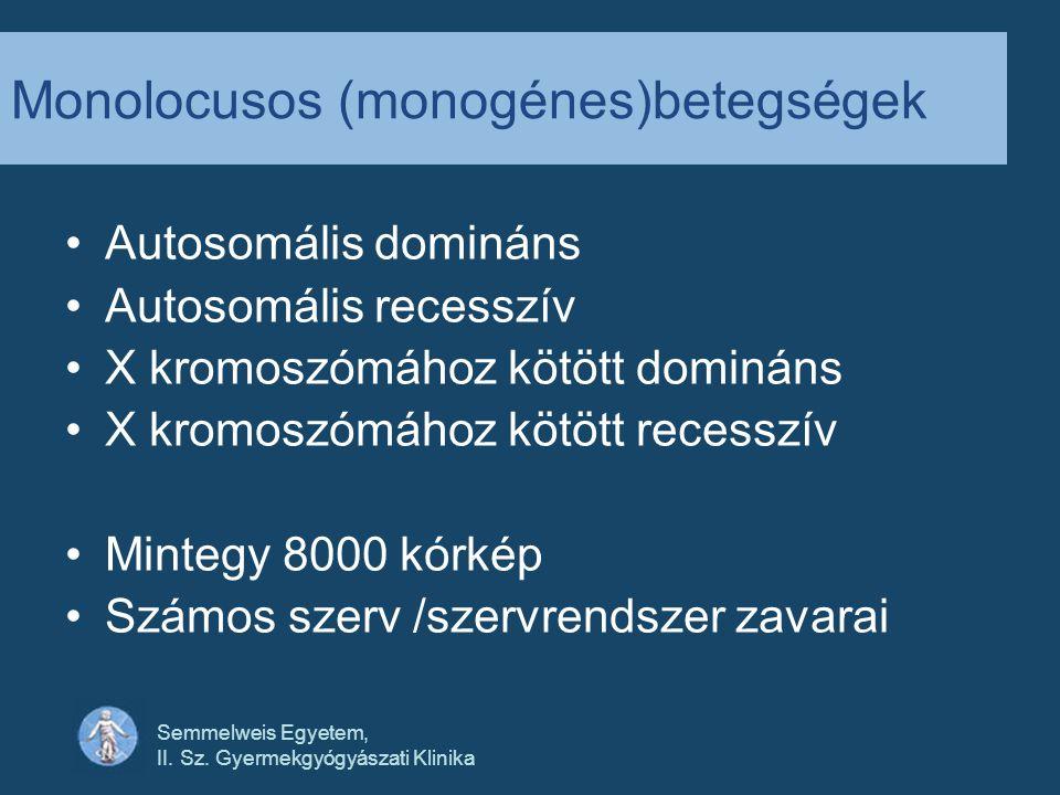 Monolocusos (monogénes)betegségek