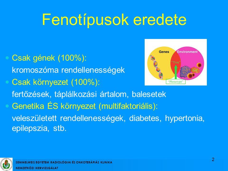 Fenotípusok eredete Csak gének (100%): kromoszóma rendellenességek