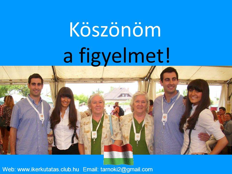 10/23/10 Köszönöm a figyelmet! Web: www.ikerkutatas.club.hu Email: tarnoki2@gmail.com 21