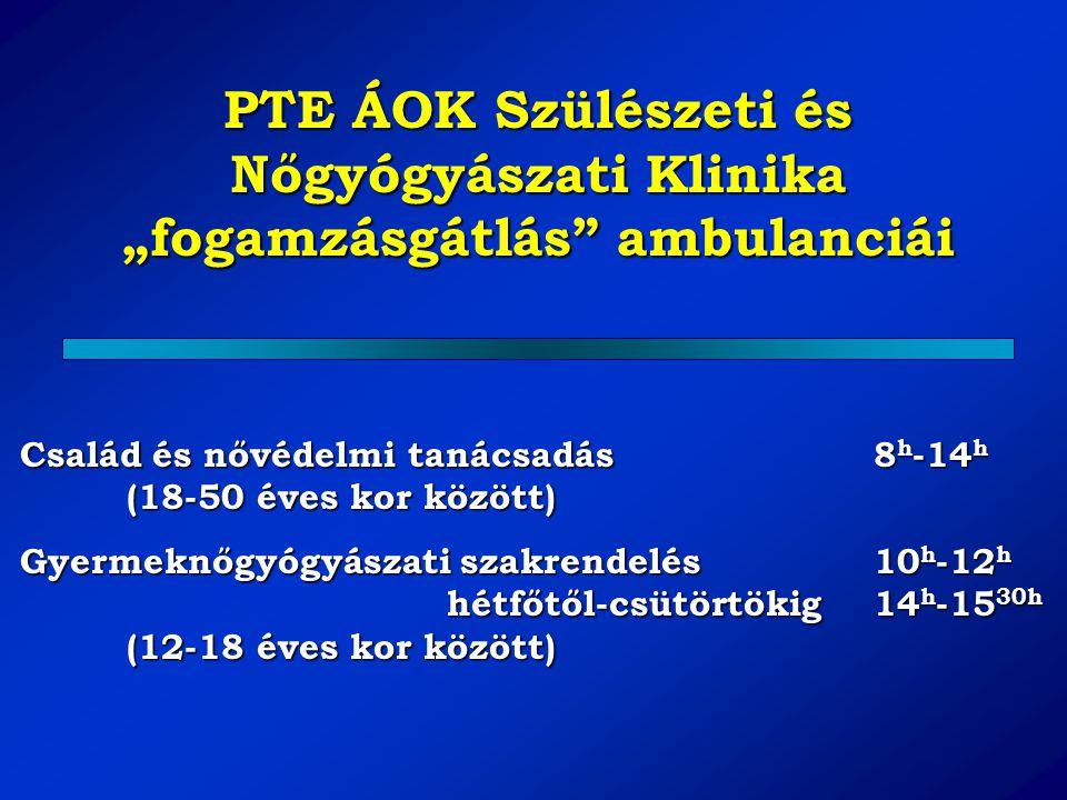 """PTE ÁOK Szülészeti és Nőgyógyászati Klinika """"fogamzásgátlás ambulanciái"""