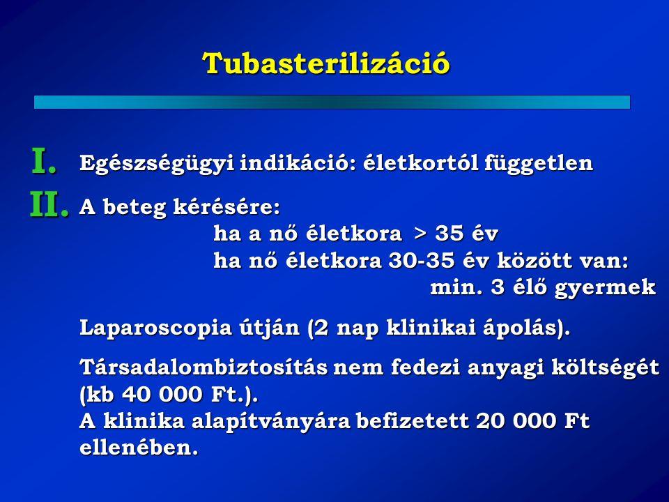 I. II. Tubasterilizáció Egészségügyi indikáció: életkortól független