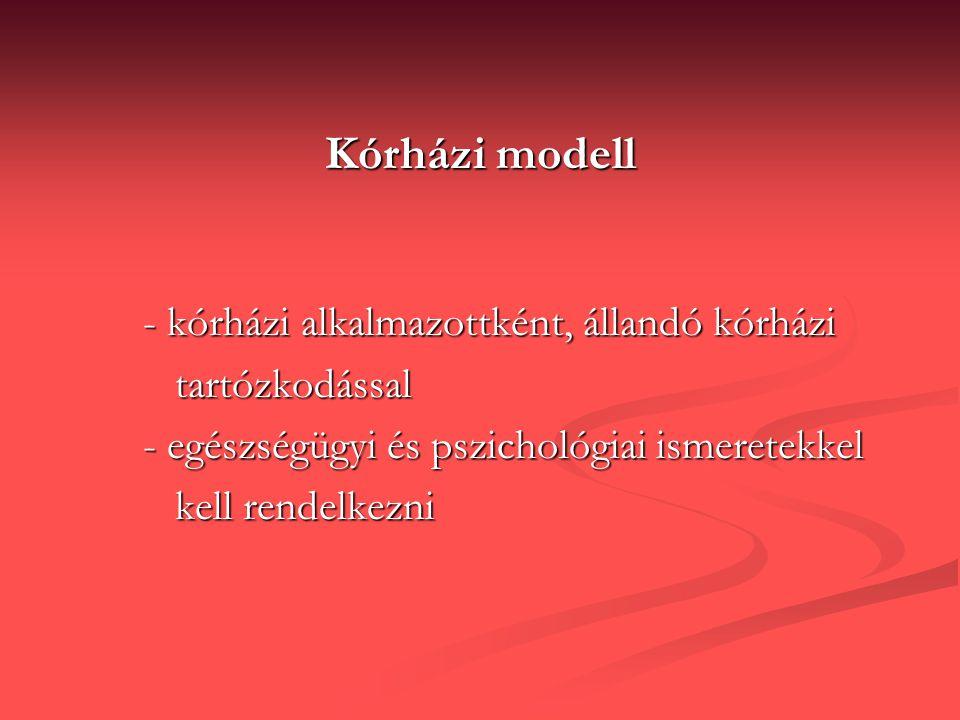 Kórházi modell - kórházi alkalmazottként, állandó kórházi