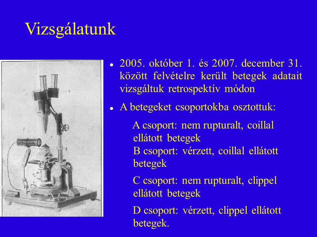 Vizsgálatunk 2005. október 1. és 2007. december 31. között felvételre került betegek adatait vizsgáltuk retrospektív módon.