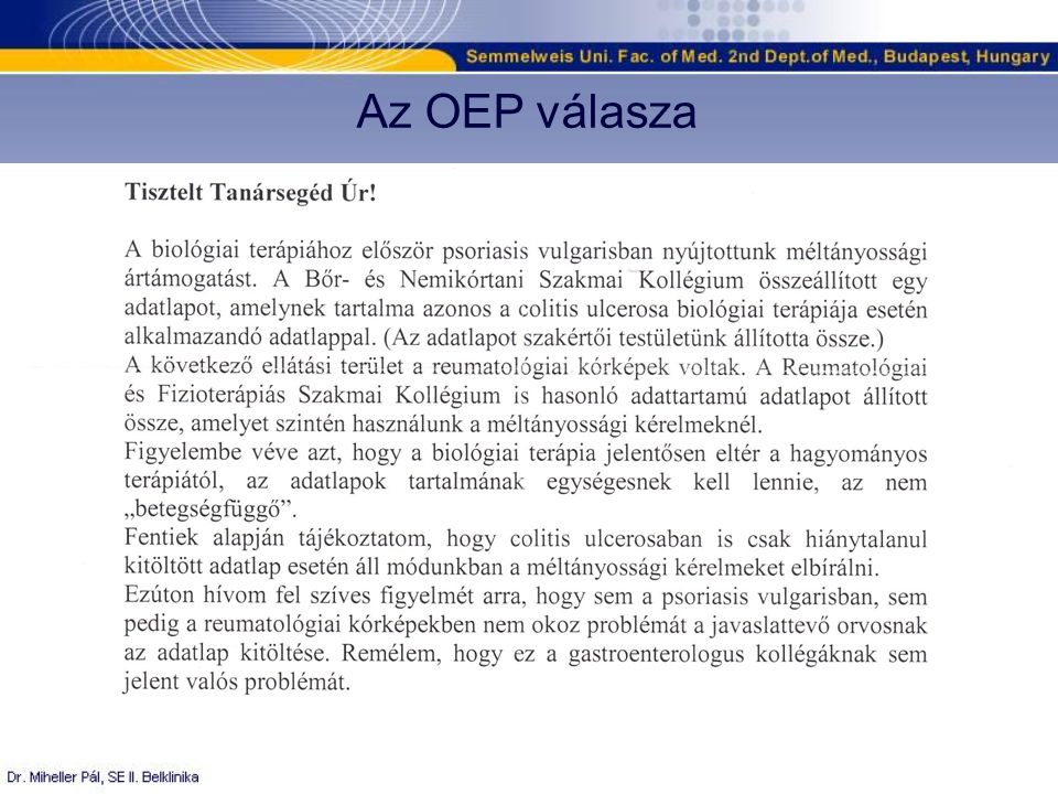 Az OEP válasza