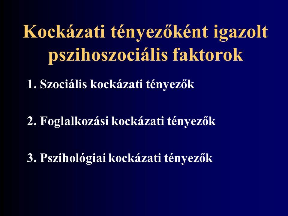 Kockázati tényezőként igazolt pszihoszociális faktorok
