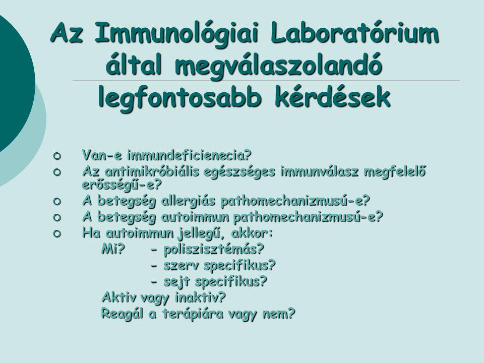 Az Immunológiai Laboratórium által megválaszolandó legfontosabb kérdések