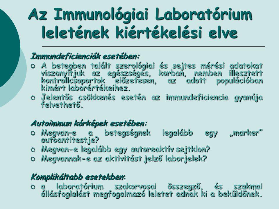 Az Immunológiai Laboratórium leletének kiértékelési elve