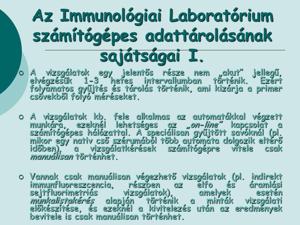 Az Immunológiai Laboratórium számítógépes adattárolásának sajátságai I.