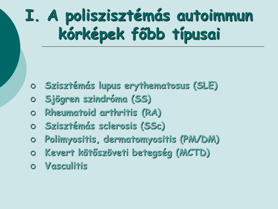 I. A poliszisztémás autoimmun kórképek főbb típusai